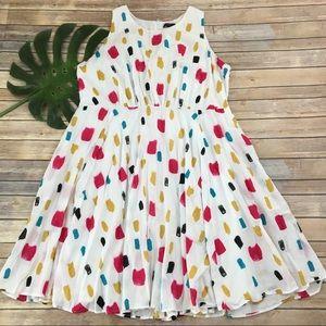 Lane Bryant white & pink sleeveless dress